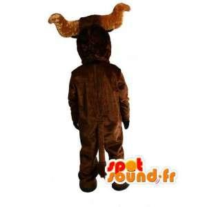 ぬいぐるみの茶色の水牛のマスコット-巨大な水牛の衣装-MASFR003509-雄牛のマスコット