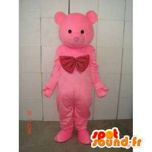 Pink Teddy Bear Mascot - Wooden Bear - Plush Costume