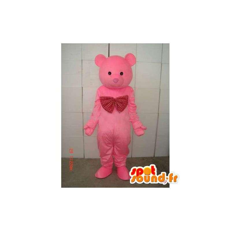 Maskottchen-Teddy-Rosa-Bär - Holz - Kostüm Plüsch - MASFR00268 - Bär Maskottchen