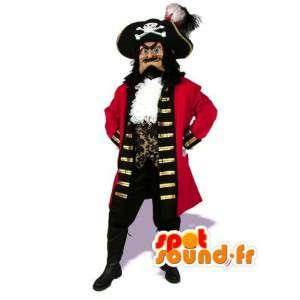 Röd piratmaskot - Piratkaptendräkt - Spotsound maskot