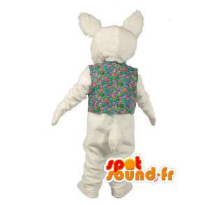 Mascot plush white rabbit with colorful shirt - MASFR003522 - Rabbit mascot
