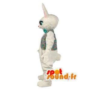 Mascot coniglio felpa bianca con la camicia colorate