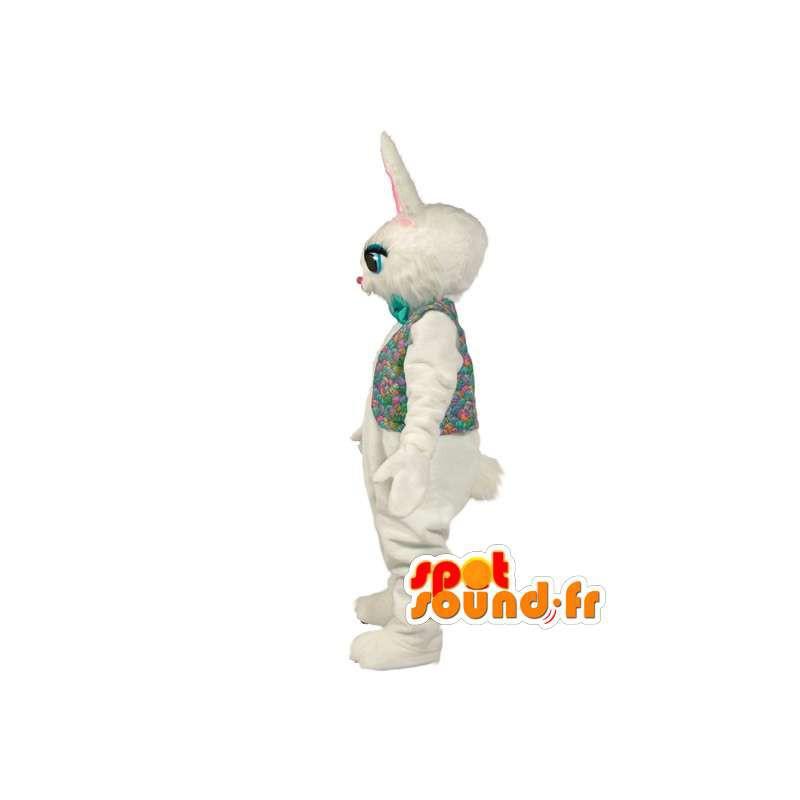 Mascotte de lapin blanc en peluche avec chemise colorée - MASFR003522 - Mascotte de lapins