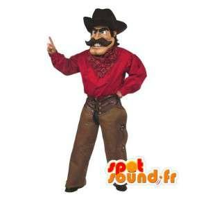 Cowboy mascotte met hoed en traditionele kleding - MASFR003523 - man Mascottes