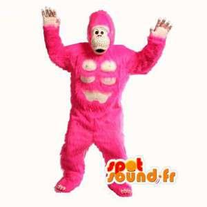 Gorilla Maskottchen rosa Haaren - Kostüm rosa Gorilla