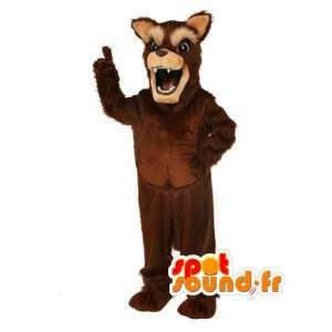Mascot marrón o negro y largo pelo de lobo - lobo de vestuario