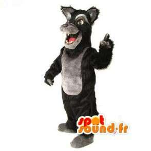 Mascotte de loup marron ou noir à poil long - Costume de loup - MASFR003528 - Mascottes Loup