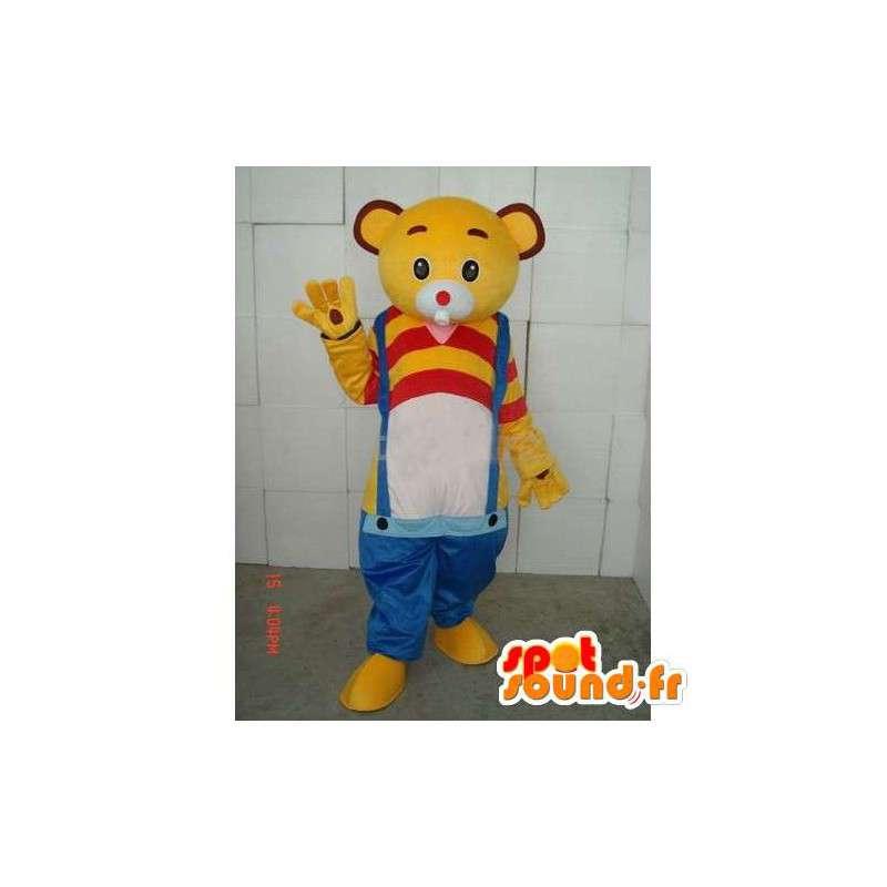 Gelber Bär Maskottchen Blau Hosenträger - rote und gelbe T-Shirt - MASFR00270 - Bär Maskottchen