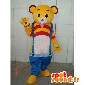 Mascotte Ours Jaune à bretelles bleues - Tshirt jaune et rouge - MASFR00270 - Mascotte d'ours