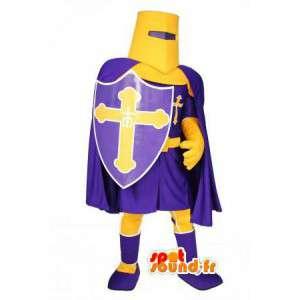 Mascotte de chevalier violet et jaune - Déguisement de chevalier
