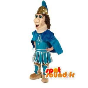 Mascot azul Romano - caballero tradicional vestuario