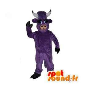 紫の牛のマスコット-楽しい牛のコスチューム-MASFR003537-牛のマスコット