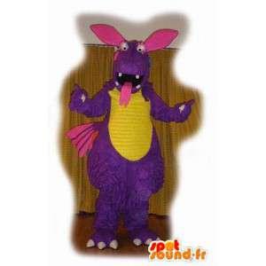 Lila Dinosaurier-Maskottchen Tonal Dots - lila Dinosaurier - MASFR003547 - Maskottchen-Dinosaurier