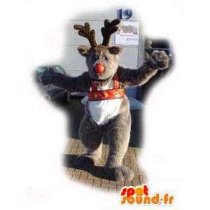 Maskottchen-Weihnachtsmann - Verkleidung braun Rentier