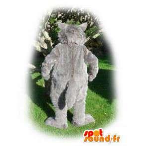 Wolf-Maskottchen Grau und Weiß - Wolf Kostüm haarig - MASFR003554 - Maskottchen-Wolf