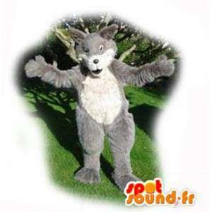Wolf-Maskottchen Grau und Weiß - Wolf Kostüm haarig