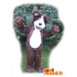 Mascotte de chien marron et blanc - Costume de chien en peluche - MASFR003556 - Mascottes de chien