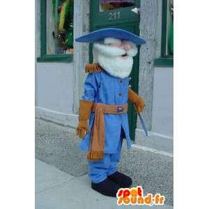 Maskottchen-Soldat in blau und braun gekleidet mit Schulterklappen - MASFR003568 - Maskottchen der Soldaten
