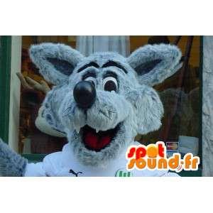Γκρίζος Λύκος μασκότ και άσπρο - τριχωτό κοστούμι λύκος