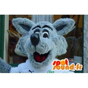 Mascotte de loup gris et blanc - Costume de loup poilu - MASFR003572 - Mascottes Loup