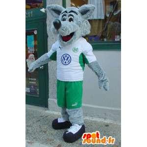 Wolf-Maskottchen Grau und Weiß - Wolf Kostüm haarig - MASFR003572 - Maskottchen-Wolf