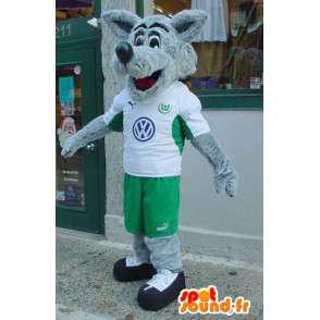 Gray Wolf Mascot og hvitt - hårete ulv drakt - MASFR003572 - Wolf Maskoter