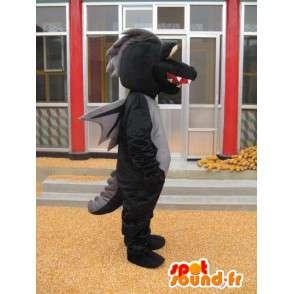 Dinosaurier-Maskottchen - Verkleidung Schwarz Stegosaurus - Jurassic - MASFR00279 - Maskottchen-Dinosaurier