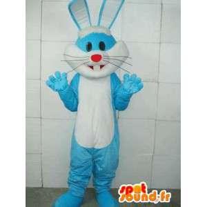 Μασκότ βασικές μπλε κουνέλι - λευκό και μπλε κοστούμι των ζώα του δάσους