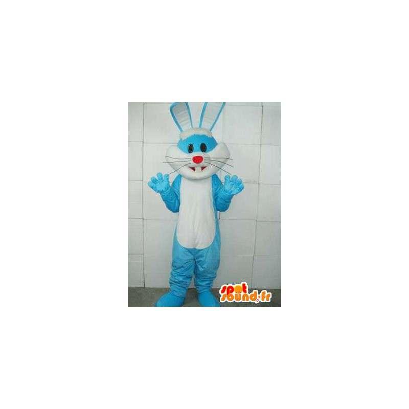 Mascotte lapin bleu basique - Costume blanc et bleu d'animal forêt - MASFR00281 - Mascotte de lapins