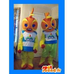 2 vuurbal mascottes oranje en geel - 2 Costume Pack - MASFR003585 - Niet-ingedeelde Mascottes