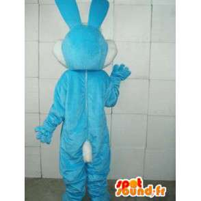 Maskot základní modrý králík - bílá a modrá kostým lesní zvěří - MASFR00281 - maskot králíci