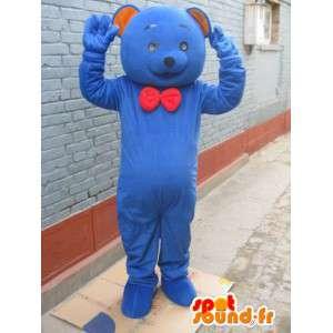 Mascotte ours bleu classique avec noeud papillon rouge - peluche