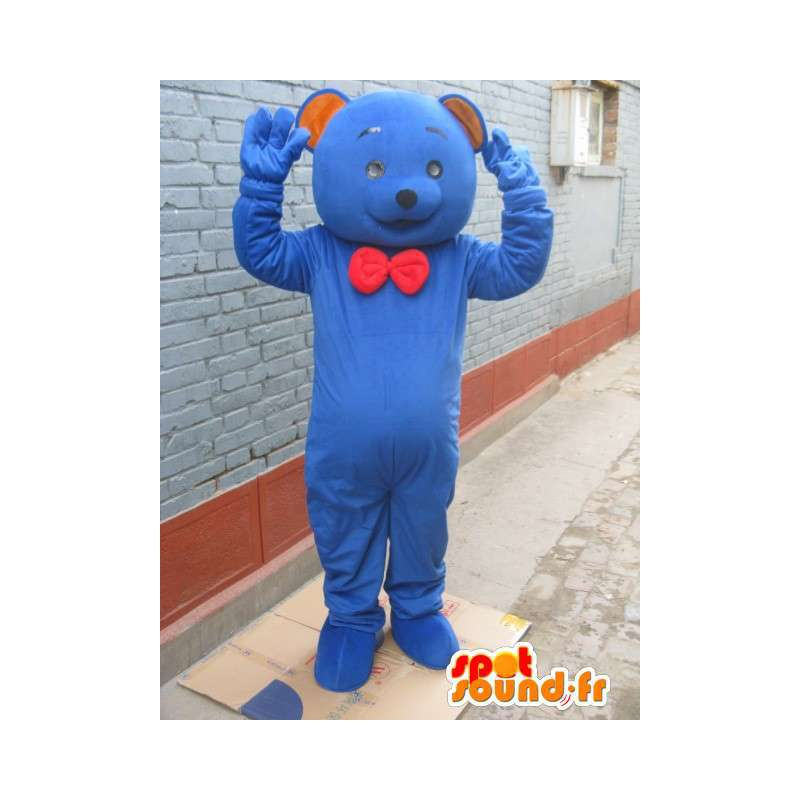 Mascot clásico oso azul con lazo rojo - Peluche - MASFR00282 - Oso mascota
