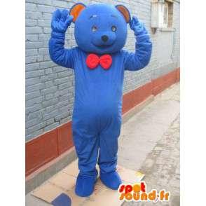 Mascotte ours bleu classique avec noeud papillon rouge - peluche - MASFR00282 - Mascotte d'ours