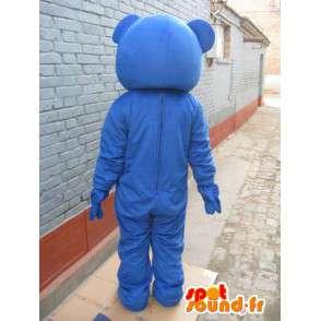 Maskot klassisk blå bjørn med pil rød sløyfe - plysj - MASFR00282 - bjørn Mascot