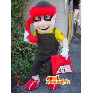 Mascot schooljongen kind gekleurde bril, overalls - MASFR003597 - mascottes Child
