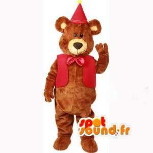 Brown bear mascot costume red birthday party - MASFR003600 - Bear mascot