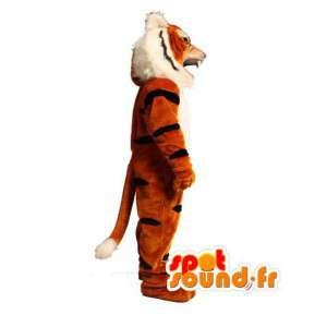 Gestreifte orange Tiger-Maskottchen schwarz - Kostüm Tiger - MASFR003604 - Tiger Maskottchen