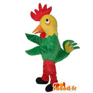 オンドリのマスコットグリーンイエローレッド-色とりどりのオンドリの変装-MASFR003620-チキンのマスコット-オンドリ-チキン
