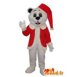 Hvid hundemaskot med julemanden hat og jakke - Spotsound maskot