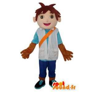 Pelo castaño Mascot Muchacho asiático - personaje de vestuario