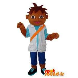 Mascot niño prieta felpa - personaje de vestuario