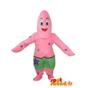 Mascote rosa e verde com o azul teste padrão de estrelas