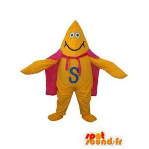 Mascote animais amarela com capa como Zorro - MASFR003645 - super-herói mascote