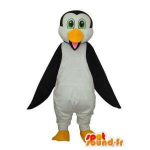 Maskot žlutá černá bílá Penguin - tučňák kostým