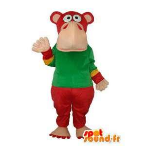 Maskotti punainen vihreä virtahepo - Hippo Costume - MASFR003654 - Hippo Maskotteja