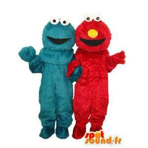 Dobbelt blå og rød plys maskot - Masser af 2 forklædninger -
