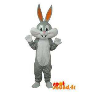 Mascot weiss grau Kaninchen - Kaninchen-Kostüm Plüsch