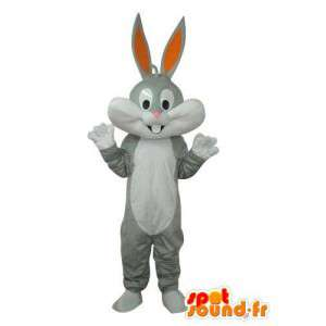 Valkoinen harmaa kani maskotti - Kani puku Pehmo