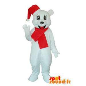 Hvit hund maskot med rød lue og skjerf - MASFR003664 - Dog Maskoter